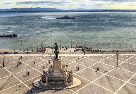 tage: Commerce Square (Praca do Comercio) in Lisbon, Portugal. Stock Photo
