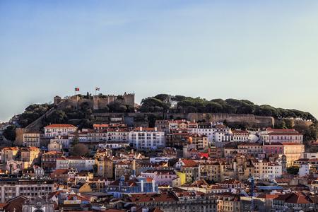 george: Lisbon fortress of Saint George view, Portugal (Castelo de Sao Jorge) Stock Photo