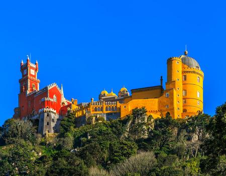 Pena Nationaal Paleis, beroemd oriëntatiepunt, Sintra, Lissabon, Portugal, Europa.
