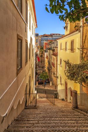 Narrow street of Lisbon Bairro Alto district, Portugal. Stock Photo