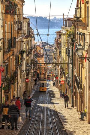 bica: LISBON, PORTUGAL - 11 JANUARY, 2017: Bica funicular, district of Baixa-Chiado.