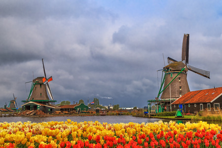 Windmills of Zaanse Schans, quiet village in Netherlands, province North Holland. Stock Photo