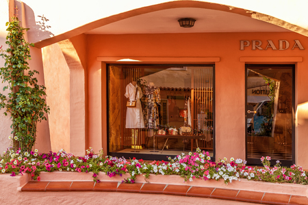 PORTO CERVO - JULY 2017. Showcase of  boutique in Porto Cervo, Sardinia, Italy. Editorial