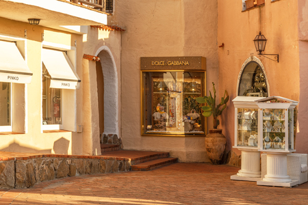 PORTO CERVO - JULY 2017. Shop windows in Porto Cervo, Sardinia, Italy. Редакционное