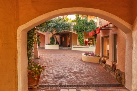 PORTO CERVO - JULY 2017. Area and promenade with shops in Porto Cervo, Sardinia, Italy.