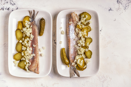 Traditional Dutch raw herring with onions and pickles on white background. Stok Fotoğraf