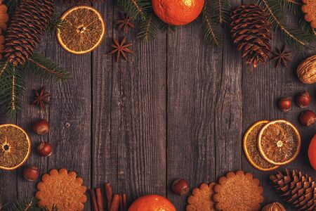 Christmas wooden background. Top view with copy space. Imagens - 84341762