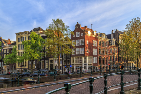 Traditional old buildings in Amsterdam, the Netherlands, May 2017.