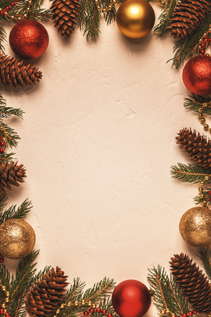 Christmas light  background. Top view with copy space.