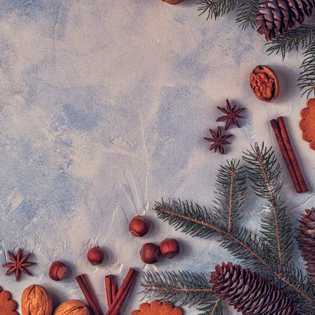 Fondo de piedra de navidad de la navidad . vista superior con espacio de copia Foto de archivo - 88033503