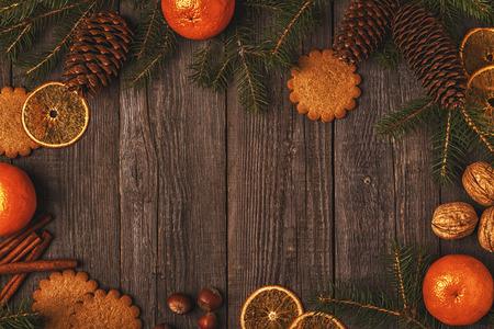 Fondo de madera de navidad. vista superior con espacio de copia. Foto de archivo - 88141753