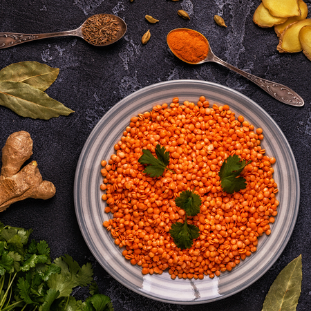 Lentils with spices. Top view, copy space. 版權商用圖片