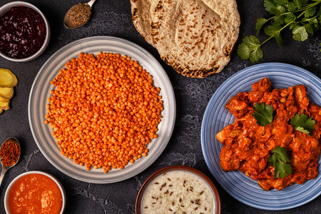 Traditional Indian curry with lentils. Top view. Stock Photo