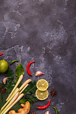 Ingredients of Thai spicy food. Top view, copy space. Stock Photo - 89128882