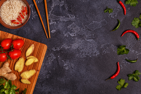 Ingredients of  asian spicy food. Top view, copy space.