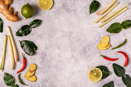 Ingredients of Thai spicy food. Top view, copy space. Stock Photo - 89142831