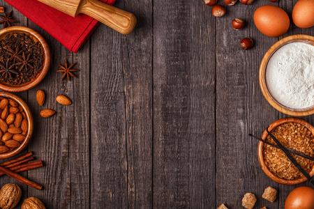 Ingrediënten voor het koken bakken. Bovenaanzicht met kopie ruimte. Stockfoto