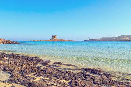 라 Pelosa 비치, 사르데냐, 이태리에서 가장 아름 다운 해변 중 하나의 전망. 스톡 콘텐츠
