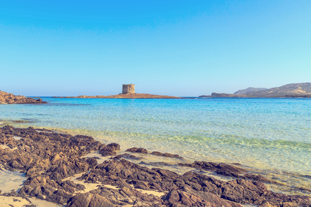 View of La Pelosa beach, one of the most beautiful beaches in Sardinia, Italy.