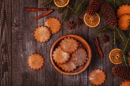 Christmas wooden background. Top view with copy space. Stock Photo