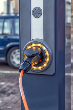 Electro mobile charging station, selective focus. Stock Photo - 89789312