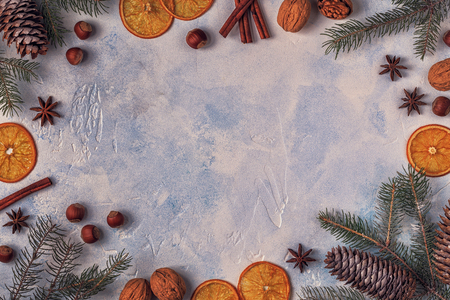 Christmas light stone background. Top view with copy space.