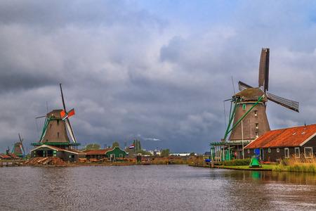 Windmills of Zaanse Schans, quiet village in Netherlands, province North Holland. Stock Photo