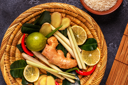 Ingredients of Thai spicy food. Top view, copy space. Stock Photo - 89791190