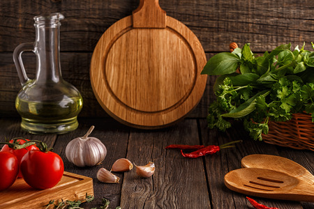 Vegetables, herbs, spices background. Selective focus. Concept of vegetarian, healthy food. Stock Photo