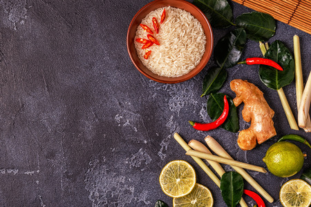 Ingredients of Thai spicy food. Top view, copy space. Stock Photo - 90951526