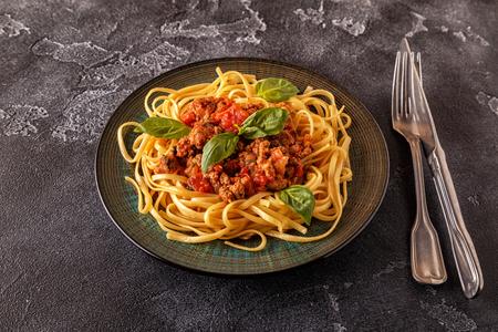 Italian pasta bolognese.  Selective focus. Banque d'images