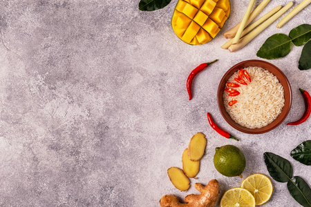 Ingredients of Thai spicy food. Top view, copy space. Stock Photo - 91693480