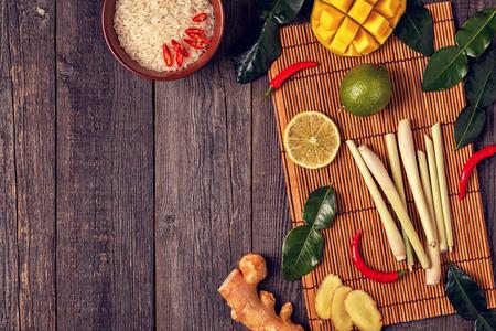 Ingredients of Thai spicy food. Top view, copy space.