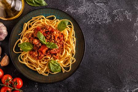 Italian pasta bolognese. Top view.