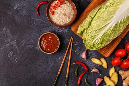 아시아 매운 음식 재료입니다. 상위 뷰, 복사본 공간입니다.