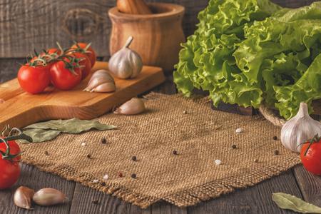 Vegetables, herbs, spices background. Selective focus. Concept of vegetarian, healthy food. Reklamní fotografie