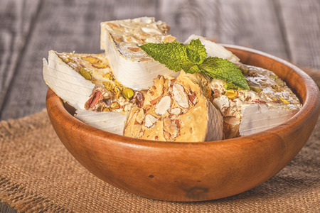 Nougat with honey and nuts. Stock Photo