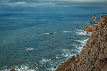 Panoramic coastal view in Cabo da Roca, Lisbon District, Portugal.
