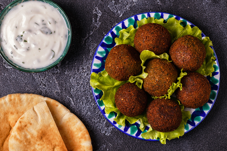 Classic falafel on the plate. Top view, copy space.