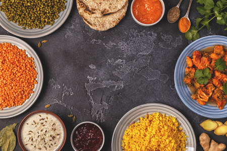 Traditional Indian curry with rice, lentils and mung beans. Top view, copy space. Stock Photo - 96291056