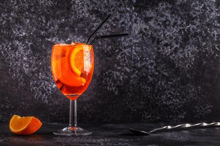 Classic Italian Aperol Spritz cocktail, selective focus.