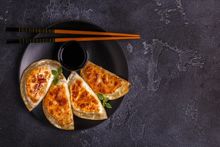 Plate of asian gyoza, dumplings snack with soy sauce. 스톡 콘텐츠 - 98292242