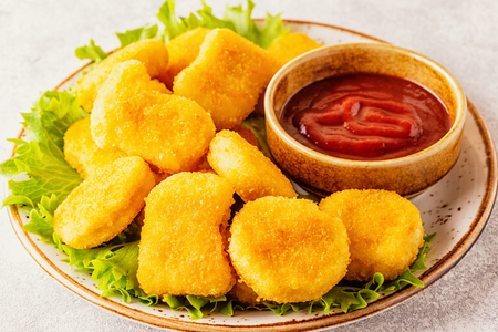 Chicken breast nuggets with sauces, selective focus. Stok Fotoğraf
