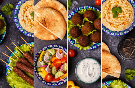 Collage of traditional middle eastern or arab dish. Top view.
