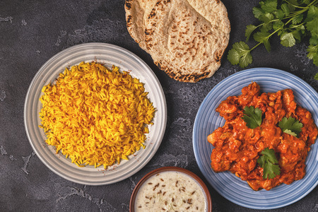 Traditional Indian curry with rice. Top view. Stock Photo