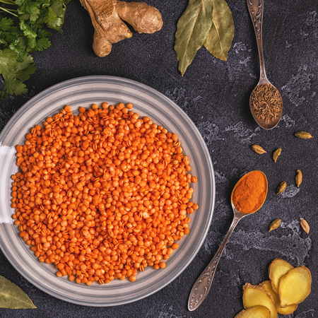 Lentils with spices. Top view, copy space. Stock Photo