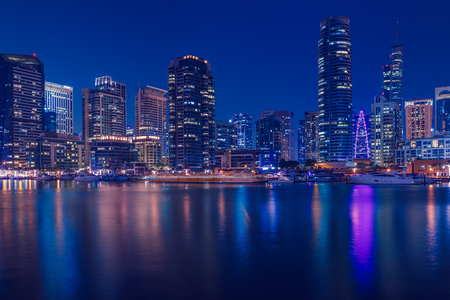 Promenade and canal in Dubai Marina,  Dubai,United Arab Emirates Banco de Imagens - 101295837