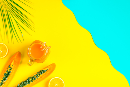 Smoothies / cocktail / juice on a bright pastel background, summer concept.