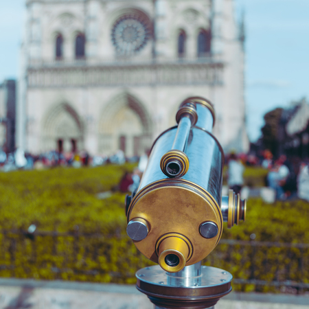 Telescope with a view of the Notre Dame, Paris.