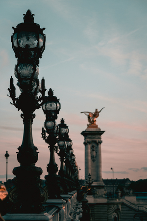 The Alexander III Bridge across Seine river in Paris, France